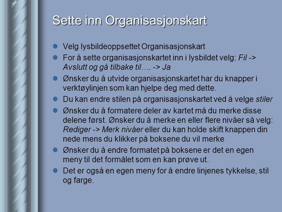 Sette inn Organisasjonskart  Velg lysbildeoppsettet Organisasjonskart  For å sette organisasjonskartet inn i lysbildet velg: Fil -> Avslutt og gå tilbake til….
