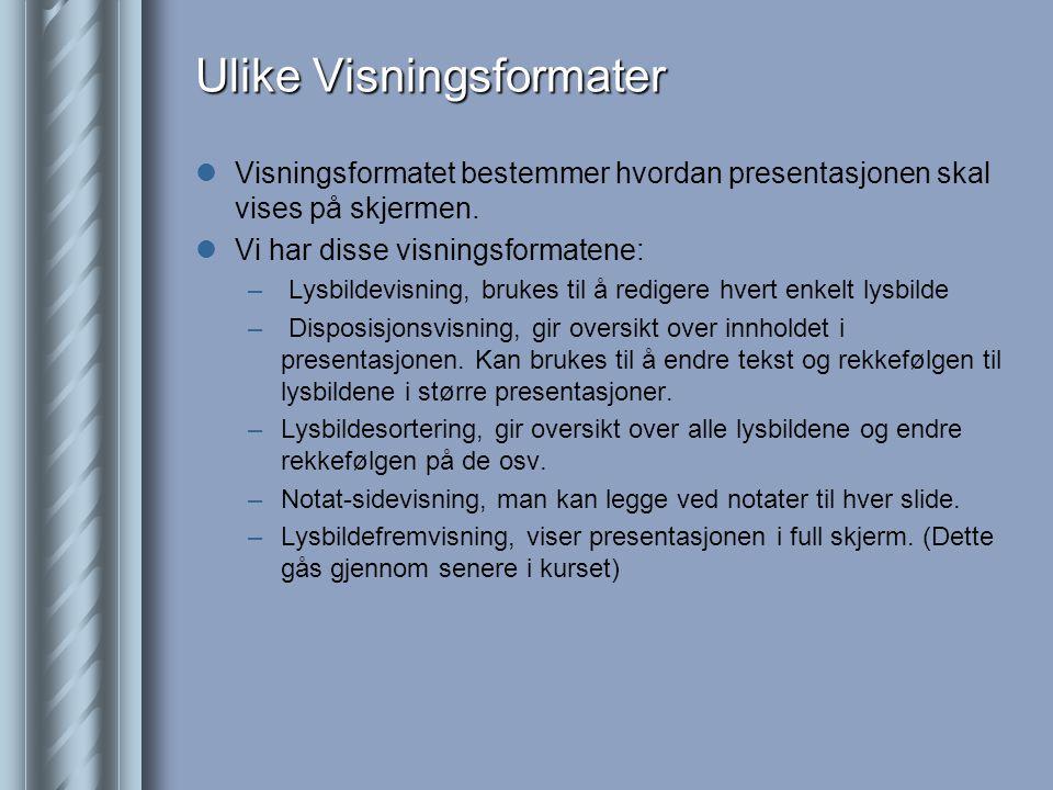 Ulike Visningsformater  Visningsformatet bestemmer hvordan presentasjonen skal vises på skjermen.