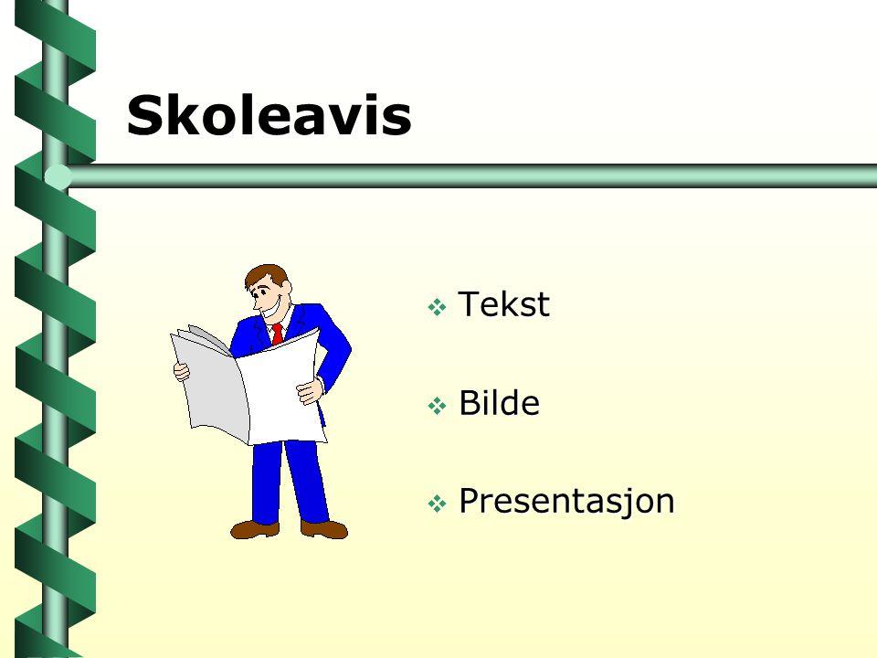 Skoleavis  Tekst  Bilde  Presentasjon