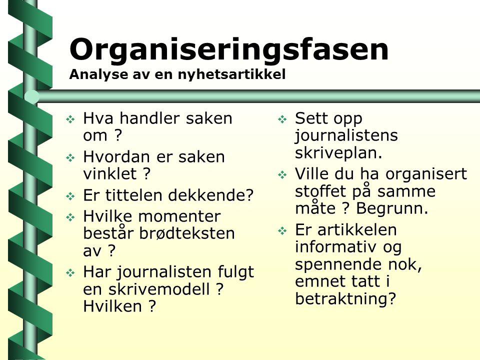 Organiseringsfasen Analyse av en nyhetsartikkel  Hva handler saken om ?  Hvordan er saken vinklet ?  Er tittelen dekkende?  Hvilke momenter består