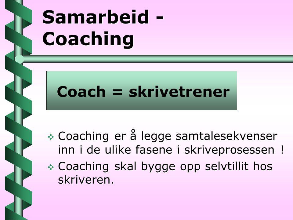Samarbeid - Coaching  Coaching er å legge samtalesekvenser inn i de ulike fasene i skriveprosessen !  Coaching skal bygge opp selvtillit hos skriver