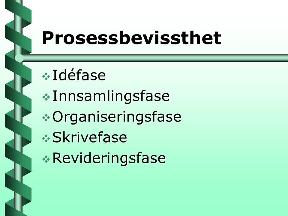 Prosessbevissthet  Idéfase  Innsamlingsfase  Organiseringsfase  Skrivefase  Revideringsfase