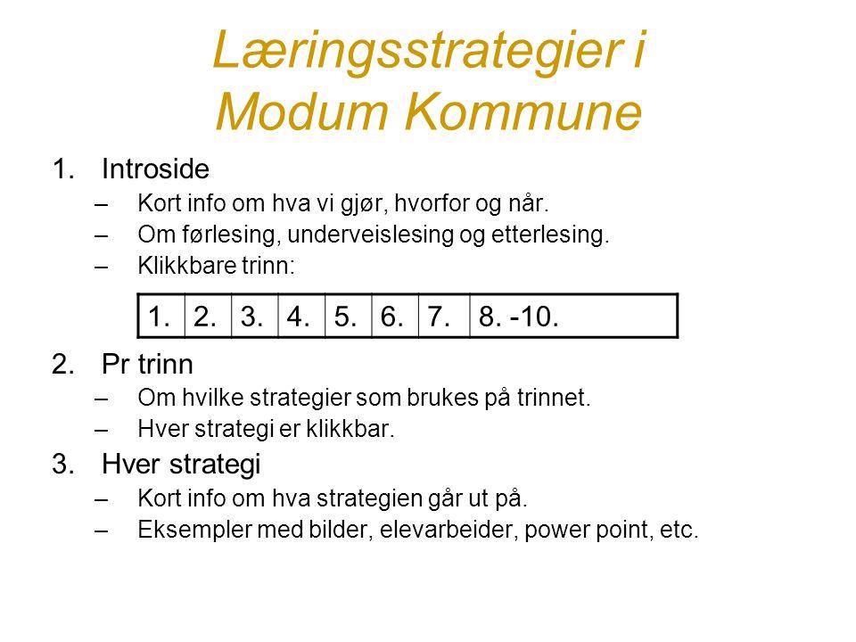 Læringsstrategier i Modum Kommune 1.Introside –Kort info om hva vi gjør, hvorfor og når. –Om førlesing, underveislesing og etterlesing. –Klikkbare tri