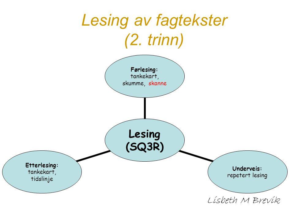 Lesing av fagtekster (2. trinn) Lisbeth M Brevik Lesing (SQ3R) Førlesing: tankekart, skumme, skanne Underveis: repetert lesing Etterlesing: tankekart,