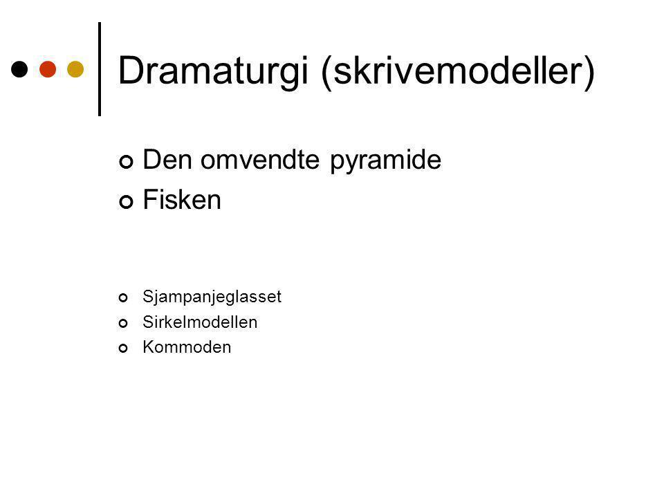 Dramaturgi (skrivemodeller) Den omvendte pyramide Fisken Sjampanjeglasset Sirkelmodellen Kommoden