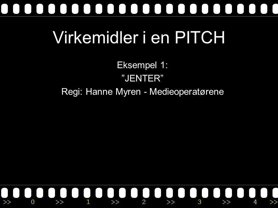 """>>0 >>1 >> 2 >> 3 >> 4 >> Virkemidler i en PITCH Eksempel 1: """"JENTER"""" Regi: Hanne Myren - Medieoperatørene"""