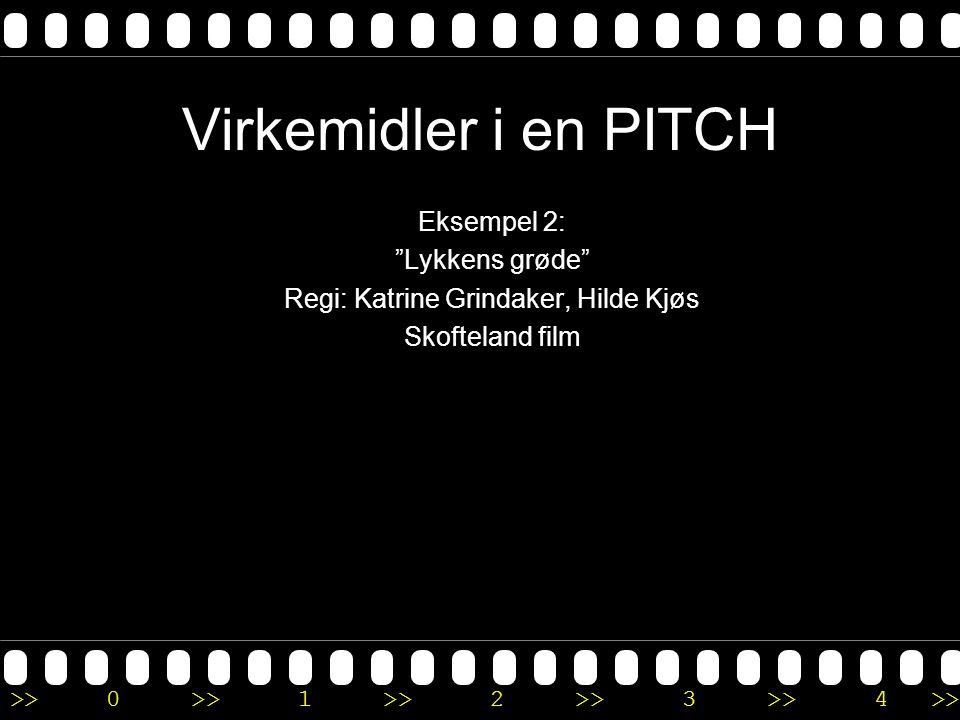 """>>0 >>1 >> 2 >> 3 >> 4 >> Virkemidler i en PITCH Eksempel 2: """"Lykkens grøde"""" Regi: Katrine Grindaker, Hilde Kjøs Skofteland film"""