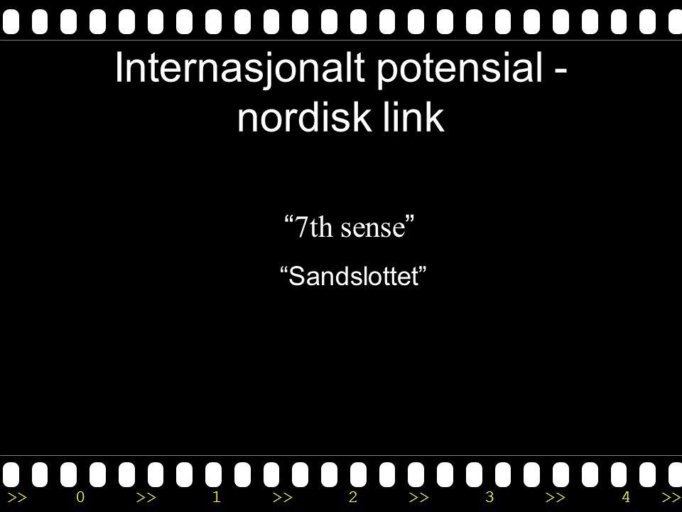 """>>0 >>1 >> 2 >> 3 >> 4 >> Internasjonalt potensial - nordisk link """" 7th sense """" """"Sandslottet"""""""