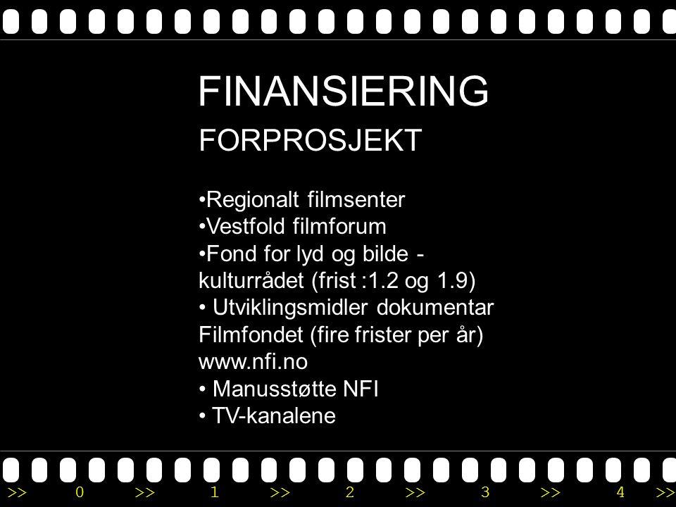 >>0 >>1 >> 2 >> 3 >> 4 >> FINANSIERING FORPROSJEKT •Regionalt filmsenter •Vestfold filmforum •Fond for lyd og bilde - kulturrådet (frist :1.2 og 1.9)