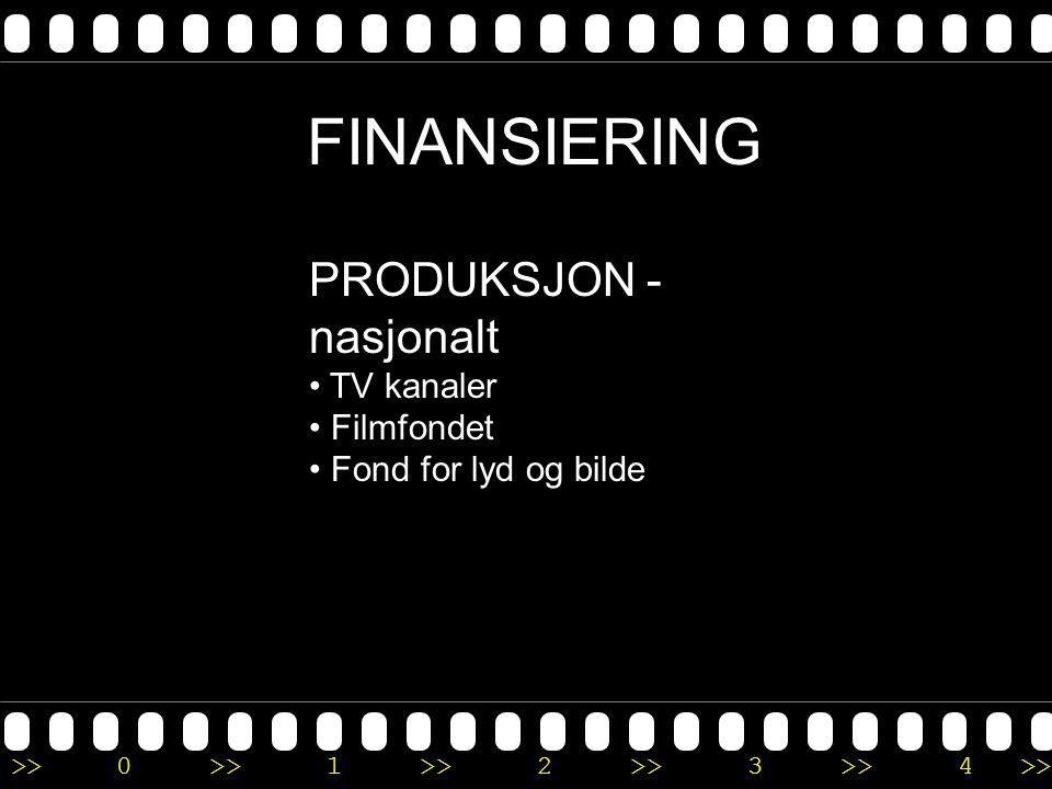>>0 >>1 >> 2 >> 3 >> 4 >> FINANSIERING PRODUKSJON - nasjonalt • TV kanaler • Filmfondet • Fond for lyd og bilde