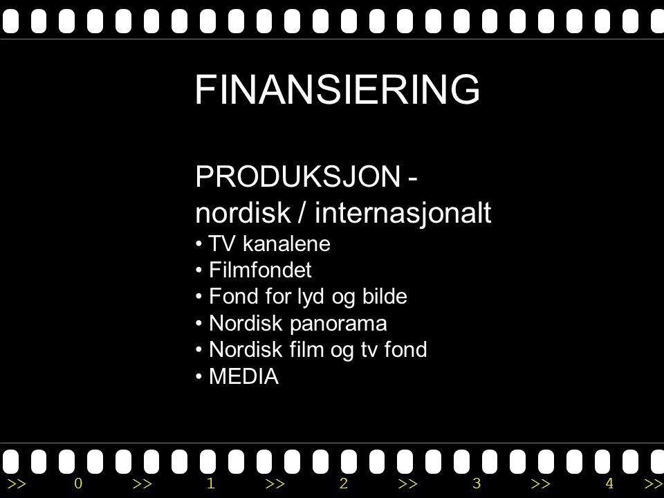 >>0 >>1 >> 2 >> 3 >> 4 >> FINANSIERING PRODUKSJON - nordisk / internasjonalt • TV kanalene • Filmfondet • Fond for lyd og bilde • Nordisk panorama • N