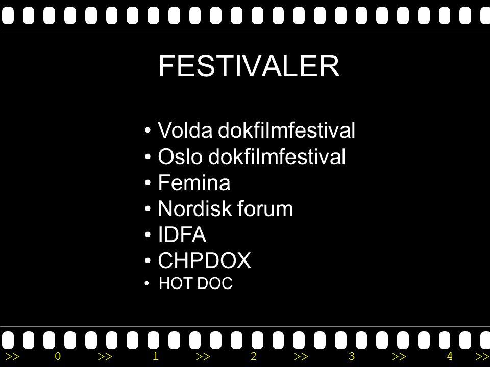 >>0 >>1 >> 2 >> 3 >> 4 >> FESTIVALER • Volda dokfilmfestival • Oslo dokfilmfestival • Femina • Nordisk forum • IDFA • CHPDOX • HOT DOC