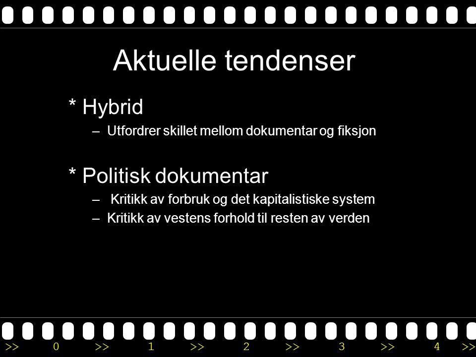 >>0 >>1 >> 2 >> 3 >> 4 >> Aktuelle tendenser * Hybrid –Utfordrer skillet mellom dokumentar og fiksjon * Politisk dokumentar – Kritikk av forbruk og de