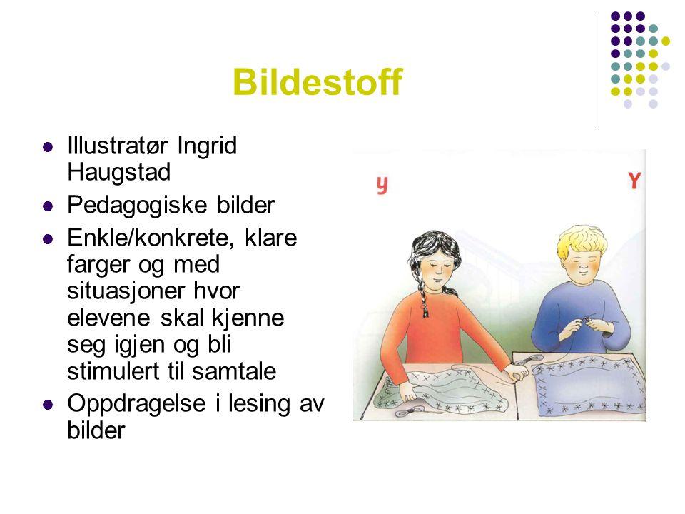 Bildestoff  Illustratør Ingrid Haugstad  Pedagogiske bilder  Enkle/konkrete, klare farger og med situasjoner hvor elevene skal kjenne seg igjen og