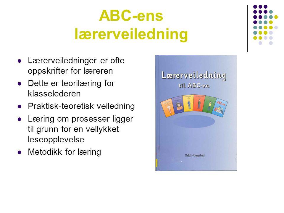 ABC-ens lærerveiledning  Lærerveiledninger er ofte oppskrifter for læreren  Dette er teorilæring for klasselederen  Praktisk-teoretisk veiledning 