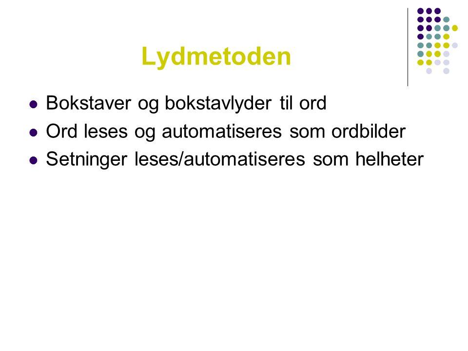 Lydmetoden  Bokstaver og bokstavlyder til ord  Ord leses og automatiseres som ordbilder  Setninger leses/automatiseres som helheter