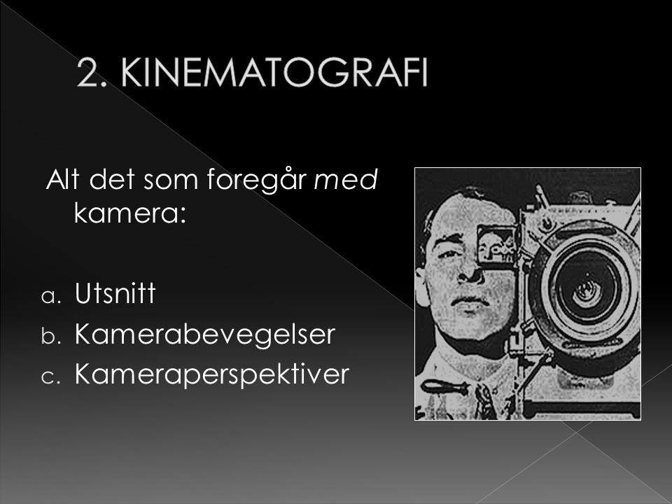 Alt det som foregår med kamera: a. Utsnitt b. Kamerabevegelser c. Kameraperspektiver