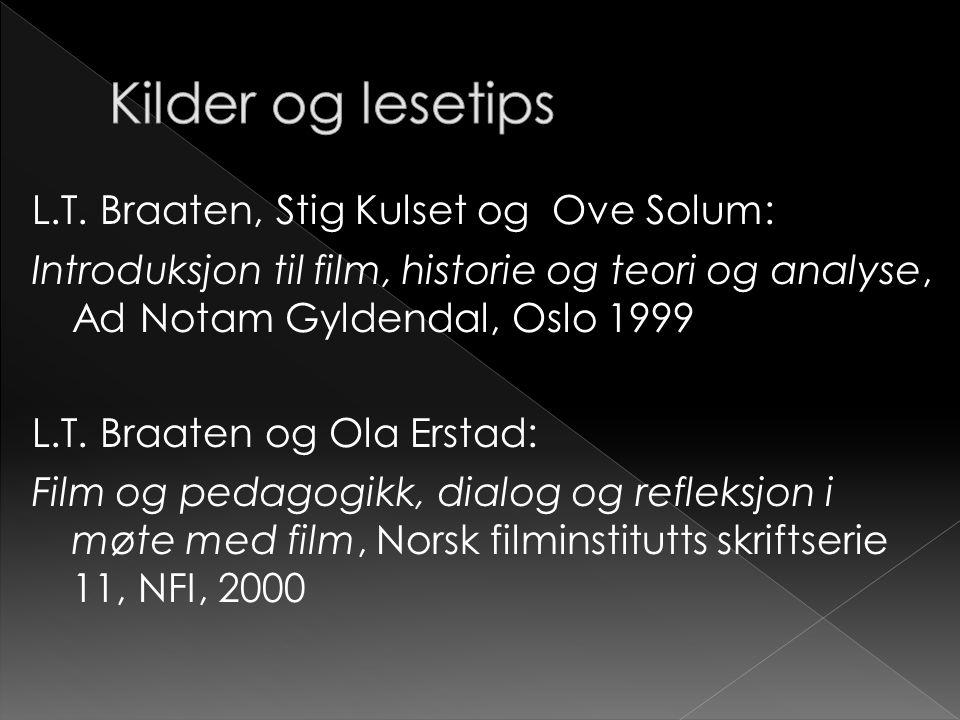 L.T. Braaten, Stig Kulset og Ove Solum: Introduksjon til film, historie og teori og analyse, Ad Notam Gyldendal, Oslo 1999 L.T. Braaten og Ola Erstad: