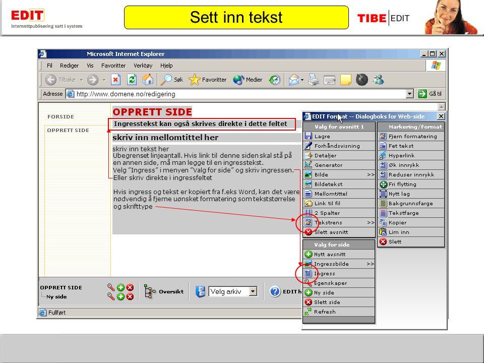 http://www.domene.no/redigering skriv inn mellomtittel her skriv inn tekst her Ubegrenset linjeantall.
