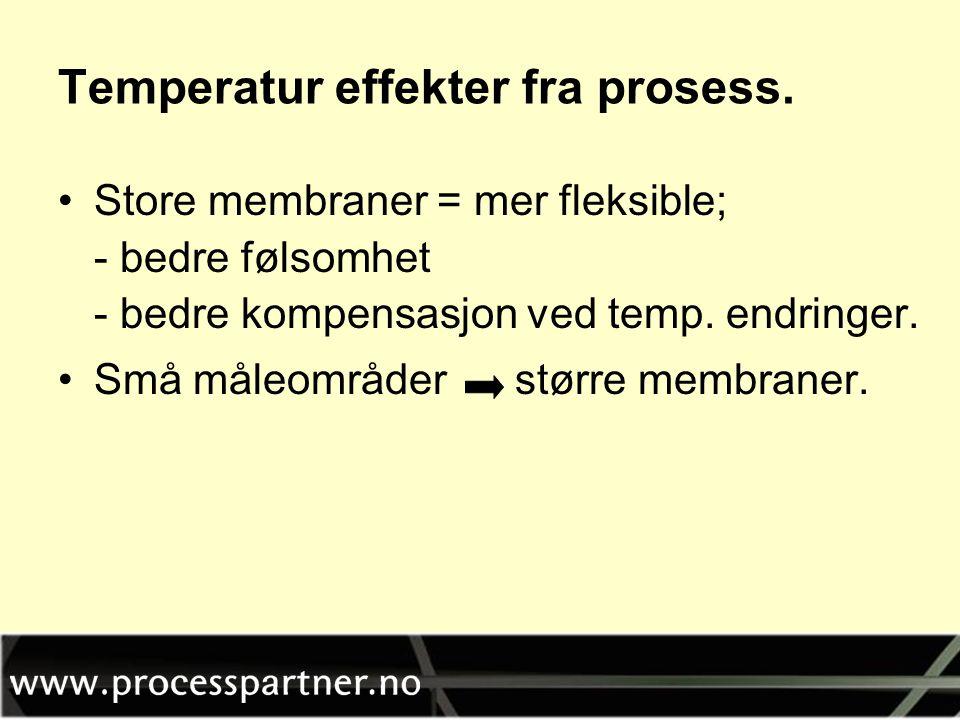 Temperatur effekter fra prosess. •Store membraner = mer fleksible; - bedre følsomhet - bedre kompensasjon ved temp. endringer. •Små måleområder større