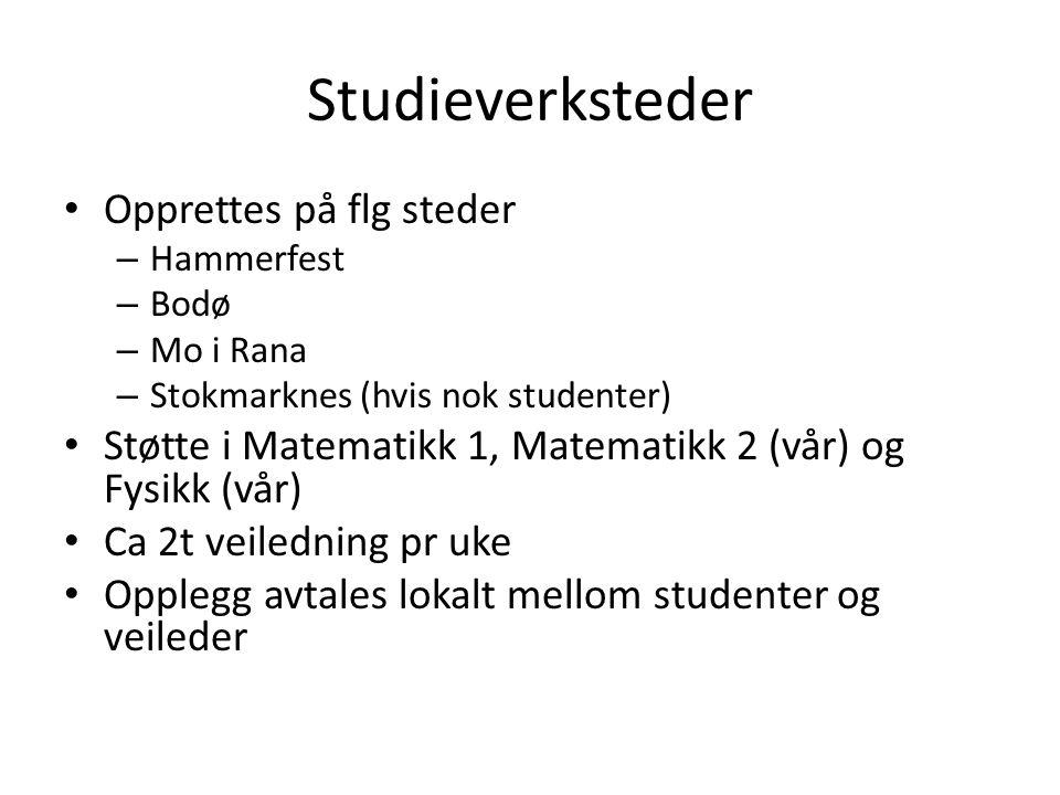 Studieverksteder • Opprettes på flg steder – Hammerfest – Bodø – Mo i Rana – Stokmarknes (hvis nok studenter) • Støtte i Matematikk 1, Matematikk 2 (v
