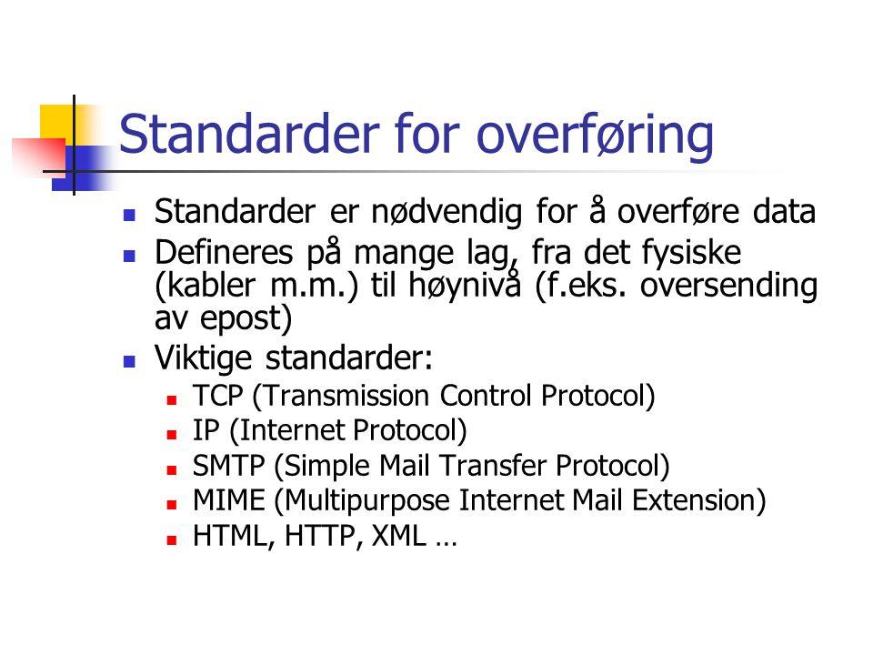 Standarder for overføring  Standarder er nødvendig for å overføre data  Defineres på mange lag, fra det fysiske (kabler m.m.) til høynivå (f.eks.