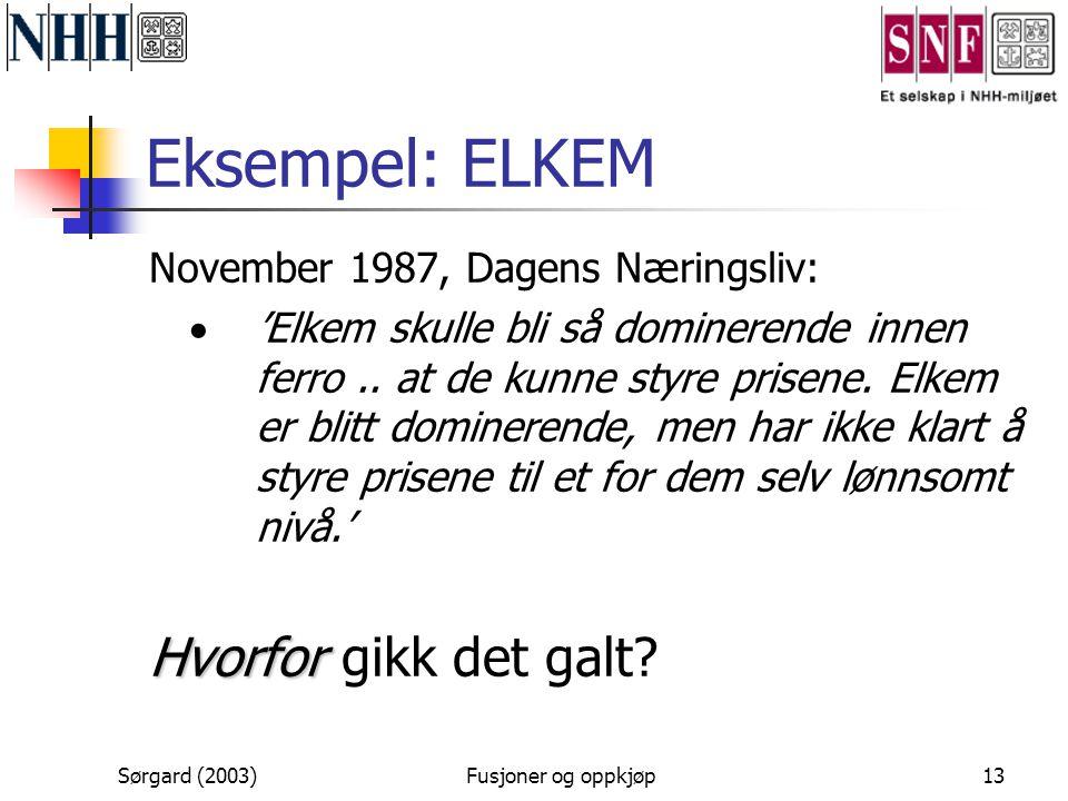 Sørgard (2003)Fusjoner og oppkjøp13 Eksempel: ELKEM November 1987, Dagens Næringsliv:  'Elkem skulle bli så dominerende innen ferro.. at de kunne sty