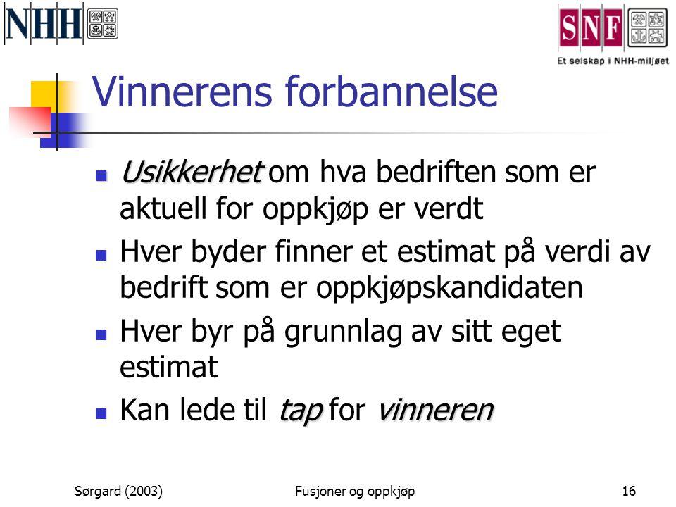 Sørgard (2003)Fusjoner og oppkjøp16 Vinnerens forbannelse  Usikkerhet  Usikkerhet om hva bedriften som er aktuell for oppkjøp er verdt  Hver byder