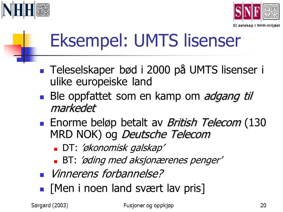 Sørgard (2003)Fusjoner og oppkjøp20 Eksempel: UMTS lisenser  Teleselskaper bød i 2000 på UMTS lisenser i ulike europeiske land adgang til markedet 