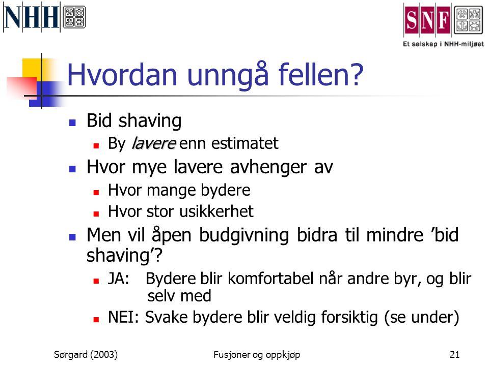 Sørgard (2003)Fusjoner og oppkjøp21 Hvordan unngå fellen?  Bid shaving lavere  By lavere enn estimatet  Hvor mye lavere avhenger av  Hvor mange by