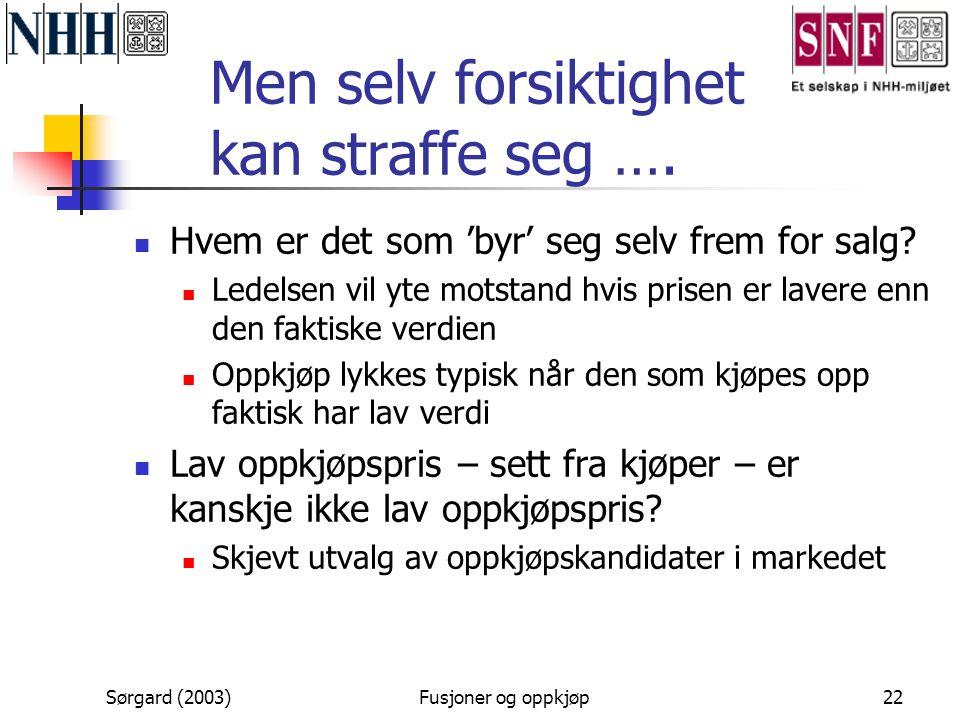 Sørgard (2003)Fusjoner og oppkjøp22 Men selv forsiktighet kan straffe seg ….  Hvem er det som 'byr' seg selv frem for salg?  Ledelsen vil yte motsta
