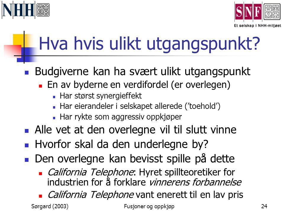 Sørgard (2003)Fusjoner og oppkjøp24 Hva hvis ulikt utgangspunkt?  Budgiverne kan ha svært ulikt utgangspunkt  En av byderne en verdifordel (er overl