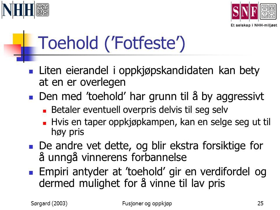 Sørgard (2003)Fusjoner og oppkjøp25 Toehold ('Fotfeste')  Liten eierandel i oppkjøpskandidaten kan bety at en er overlegen  Den med 'toehold' har gr