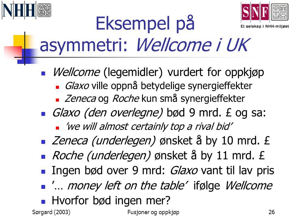 Sørgard (2003)Fusjoner og oppkjøp26 Eksempel på asymmetri: Wellcome i UK  Wellcome (legemidler) vurdert for oppkjøp  Glaxo ville oppnå betydelige sy