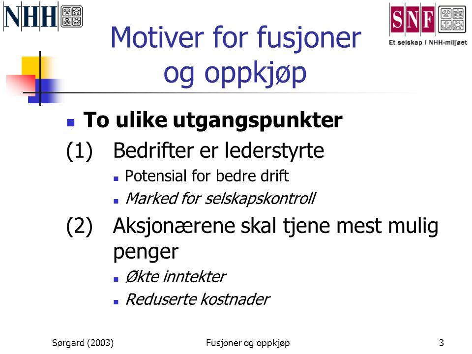 Sørgard (2003)Fusjoner og oppkjøp3 Motiver for fusjoner og oppkjøp  To ulike utgangspunkter (1) Bedrifter er lederstyrte  Potensial for bedre drift