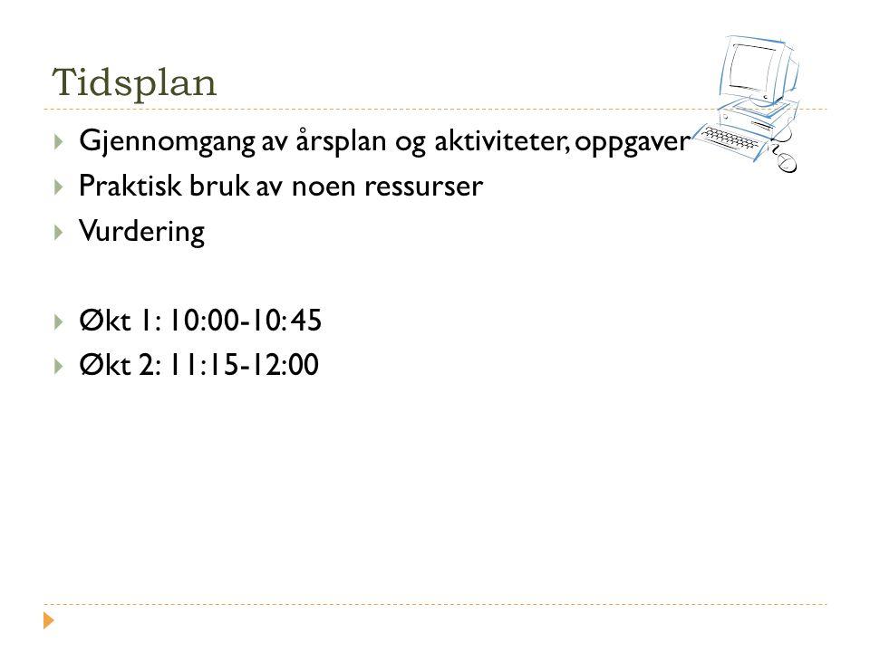 Tidsplan  Gjennomgang av årsplan og aktiviteter, oppgaver  Praktisk bruk av noen ressurser  Vurdering  Økt 1: 10:00-10: 45  Økt 2: 11:15-12:00