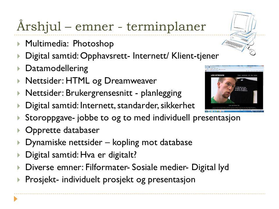 Årshjul – emner - terminplaner  Multimedia: Photoshop  Digital samtid: Opphavsrett- Internett/ Klient-tjener  Datamodellering  Nettsider: HTML og
