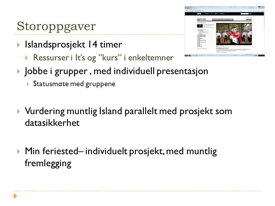 """Storoppgaver  Islandsprosjekt 14 timer  Ressurser i It's og """"kurs"""" i enkeltemner  Jobbe i grupper, med individuell presentasjon  Statusmøte med gr"""