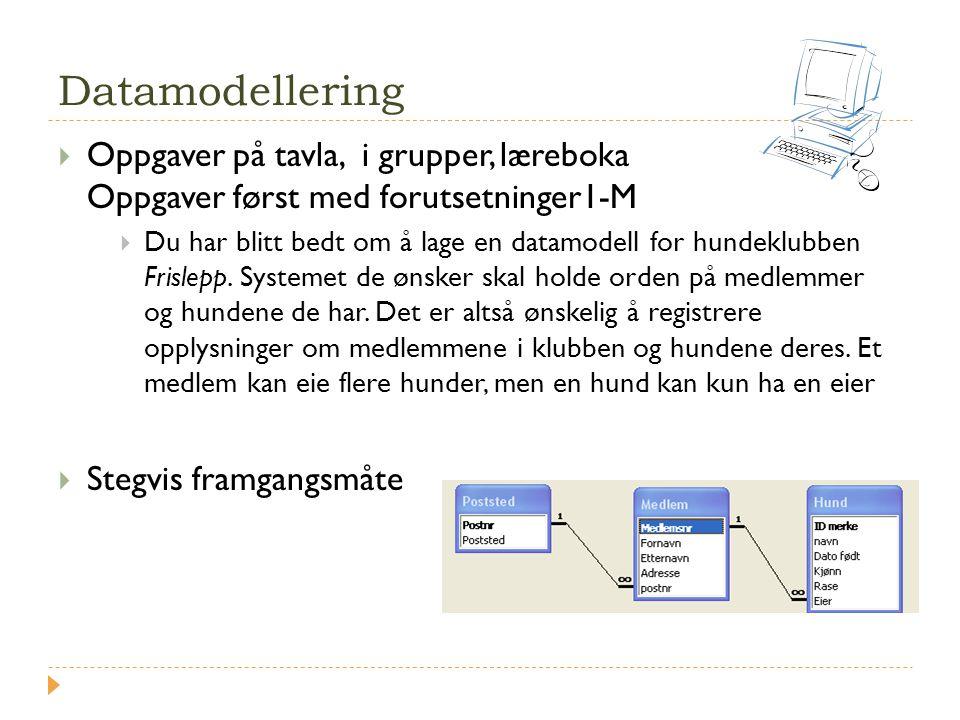 Datamodellering  Oppgaver på tavla, i grupper, læreboka Oppgaver først med forutsetninger1-M  Du har blitt bedt om å lage en datamodell for hundeklu