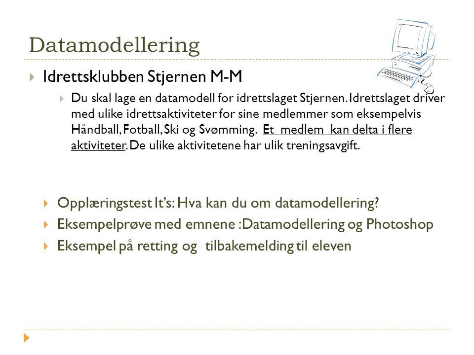 Datamodellering  Idrettsklubben Stjernen M-M  Du skal lage en datamodell for idrettslaget Stjernen. Idrettslaget driver med ulike idrettsaktiviteter