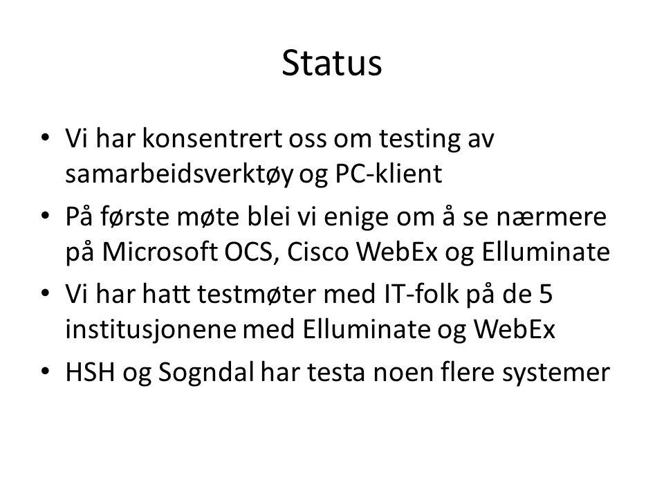 Status • Vi har konsentrert oss om testing av samarbeidsverktøy og PC-klient • På første møte blei vi enige om å se nærmere på Microsoft OCS, Cisco WebEx og Elluminate • Vi har hatt testmøter med IT-folk på de 5 institusjonene med Elluminate og WebEx • HSH og Sogndal har testa noen flere systemer
