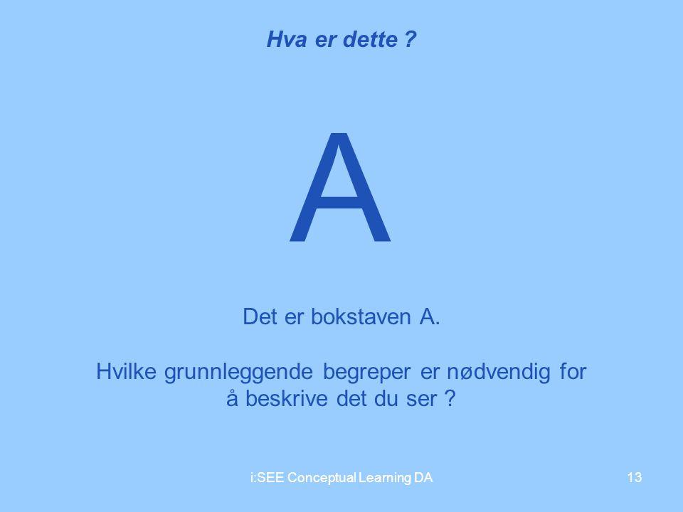 i:SEE Conceptual Learning DA13 A Hva er dette ? Det er bokstaven A. Hvilke grunnleggende begreper er nødvendig for å beskrive det du ser ?