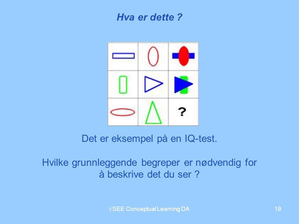 i:SEE Conceptual Learning DA19 Hva er dette ? Det er eksempel på en IQ-test. Hvilke grunnleggende begreper er nødvendig for å beskrive det du ser ?