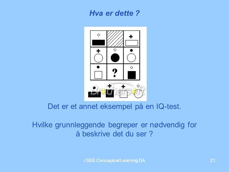 i:SEE Conceptual Learning DA21 Hva er dette ? Det er et annet eksempel på en IQ-test. Hvilke grunnleggende begreper er nødvendig for å beskrive det du