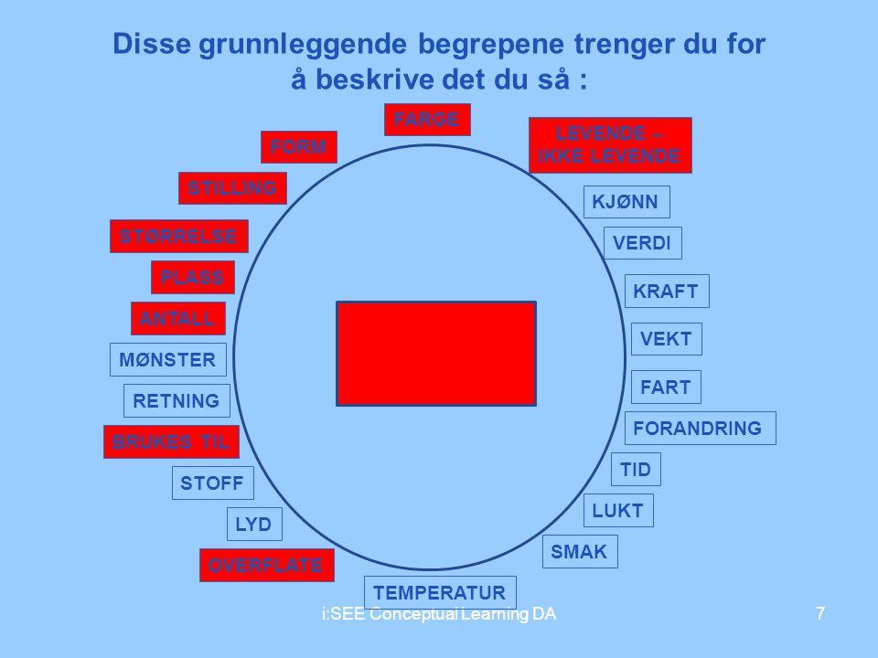 i:SEE Conceptual Learning DA7 Disse grunnleggende begrepene trenger du for å beskrive det du så : FARGE FORM STILLING STØRRELSE PLASS ANTALL MØNSTER R