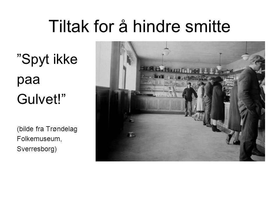 Tiltak for å hindre smitte Spyt ikke paa Gulvet! (bilde fra Trøndelag Folkemuseum, Sverresborg)