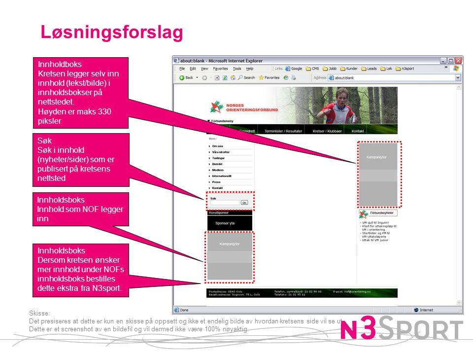Løsningsforslag Innholdboks Kretsen legger selv inn innhold (tekst/bilde) i innholdsbokser på nettstedet.