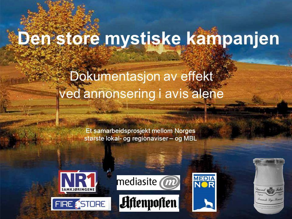 Den store mystiske kampanjen Dokumentasjon av effekt ved annonsering i avis alene Et samarbeidsprosjekt mellom Norges største lokal- og regionaviser – og MBL