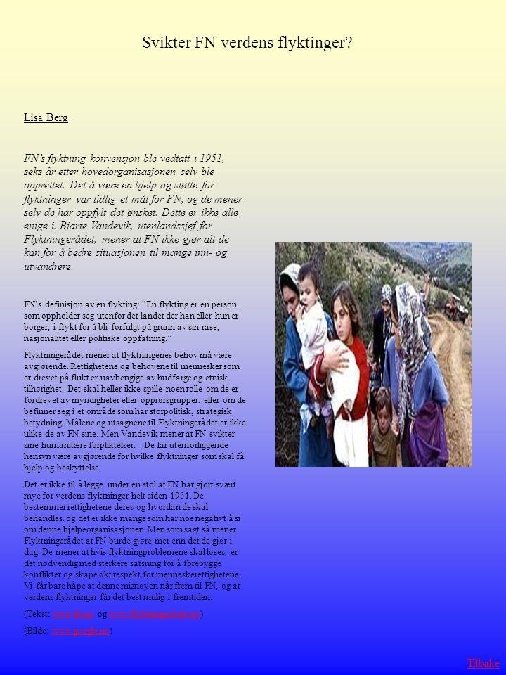 Svikter FN verdens flyktinger? Lisa Berg FN's flyktning konvensjon ble vedtatt i 1951, seks år etter hovedorganisasjonen selv ble opprettet. Det å vær