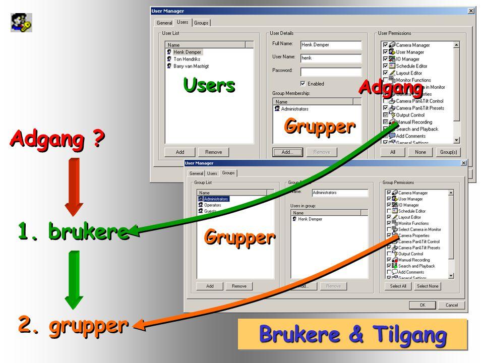 Brukere & Tilgang 1. brukere 2. grupper Adgang ? Users Grupper Adgang Grupper